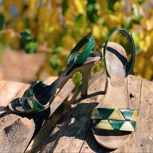 Prada lime chartreuse patent jelly slingback heels